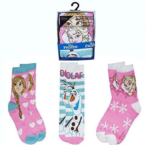 Disney Die Eiskönigin Socken 12 Kinder – 2 Größen 100% Polyester Kleidung Gr. 12 Kids - 2 Size, mehrfarbig