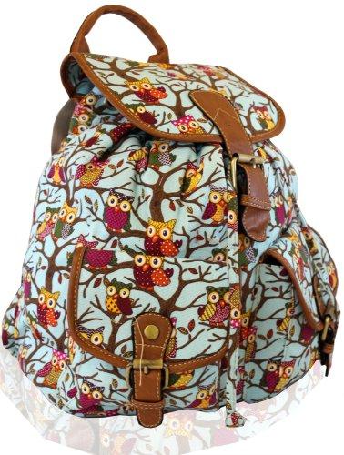 kukubird Eulen Twin Tasche Rucksack/Rucksack/Schultasche (Eule Himmelblau)