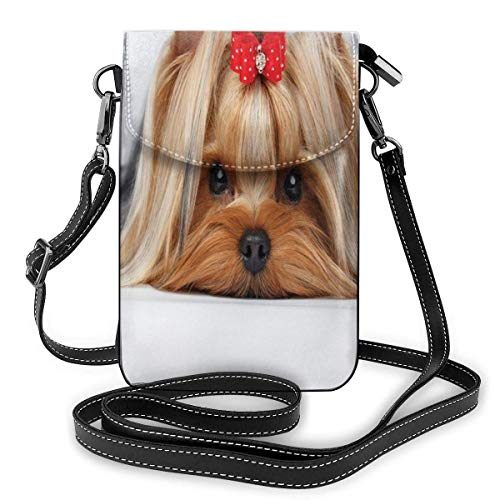 Women Mini Purse Crossbody of Cell PhoneLying Yorkshire Terrier with Cute Ribbon Yorkie Love Portrait of A Dog