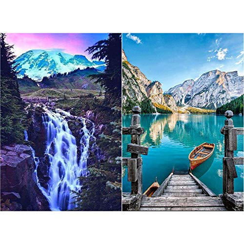 2 Sets 5D Diamond Painting Kits Full Round Drill Diamond Rhinestone Painting DIY Mountain Waterfall Embroidery Painting by Number Kits for Home Wall Decoration, 11.8 x 9.8 Inch