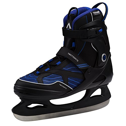 TECNOPRO Herren Complet Hurricane Eishockeyschuhe, Schwarz/Blau, 44