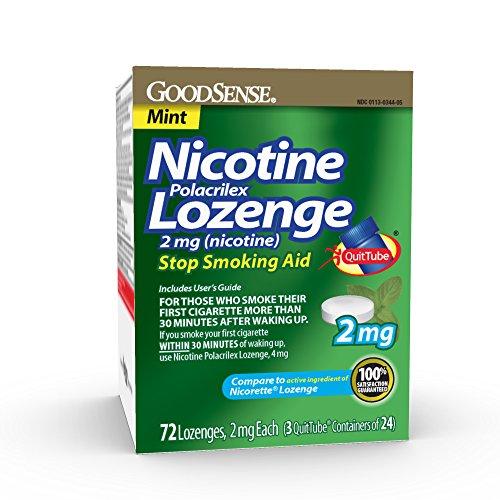 GoodSense Nicotine Polacrilex Lozenge 2 mg (nicotine), Mint Flavor, Stop Smoking Aid; quit smoking with nicotine lozenge, 72 Count