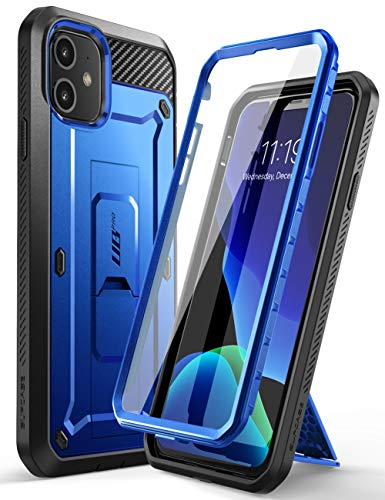 SupCase iPhone 11 Hülle 360 Grad Handyhülle Outdoor Case Bumper Schutzhülle Full Cover [Unicorn Beetle Pro] mit Integriertem Displayschutz und Gürtelclip 6.1 Zoll 2019 Ausgabe (Dunkelblau)