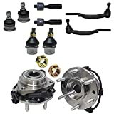 Detroit Axle - Front Wheel Bearing & Hub Assembly Set, Tie Rod Inner Outer, Upper Lower Ball Joints + CV Nuts [12PC Set] for Chevy Trailblazer, GMC Envoy, Oldsmobile Bravada, Isuzu Ascender
