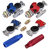 KOOTANS Emergency Glad Hands with Valve Set Aluminum Gladhand Handshake Kit Universal Air Hose Brake Coupling Connector with Anodized Aluminum Handles, for Truck Semi Trailer Tractor RVS