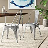 BELLEZE Vintage Style Metal Dining Chairs - Silver (Set of 4) Stackable Backrest Chair for...