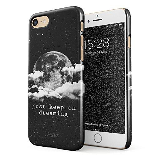 Glitbit Just Keep On Dreaming Motivational Quote Space Galaxy Stars Moon Cosmic Tumblr Mond Zitat Dünn Robuste Rückschale aus Kunststoff Für iPhone 7/8 Handyhülle Schutz Hülle Hülle Cover