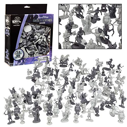 SCS Direct Fantasy Creature Mini Action Figure Playset-98pc Monster Toy Miniatures w 14 Unique Sculpts - Dragons, Wizards, Orcs, and More- XL 1/32nd Scale Character Accessories