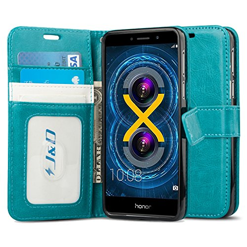 J&D Case Compatible for Huawei Honor 6X Case, [Wallet Stand] [Slim Fit] Heavy Duty Protective Shock Resistant Flip Cover Wallet Case for Huawei Honor 6X Wallet Case - Aqua