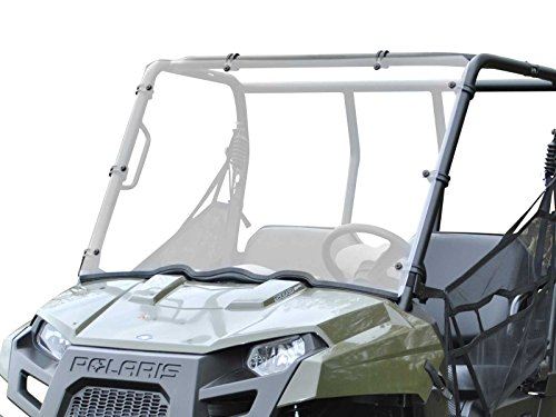 """SuperATV Heavy Duty Scratch Resistant Full Windshield for 2010+ Polaris Ranger Midsize 400/500 / 800/570 / EV/Crew (See Fitment) 