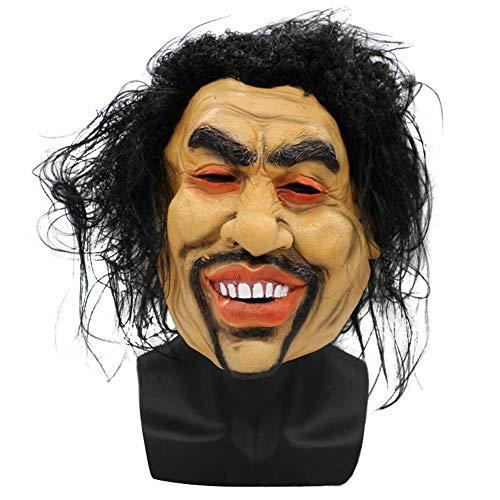 KDLK Halloween Maske Sharp Brother Cosplay Crazy Beggars Männlich Langes Haar Lächeln Gesichtsmaske Terror Party Lustige Witzmaske Party Requisiten Größe für die meisten Menschen