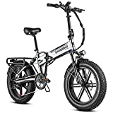 SAMEBIKE 500W Folding Electric Bike 4.0″ Fat Tire 20″ Electric Bikes with 48V/10.4Ah Removable Battery, Full Suspension Adult Electric Bicycles, Beach and Mountain Ebike with Shimano 7-Speed, Gray