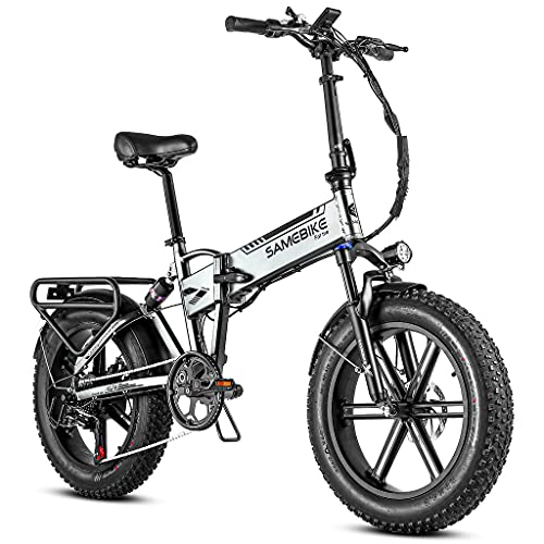 SAMEBIKE Folding Fat Tires Electric Bike, 500W Full Suspension Electric Bike with 48V/10AH Removable Lithium Battery, 20' Electric Bicycles for Adults with Shimano 7 Speed, LCD Display with USB
