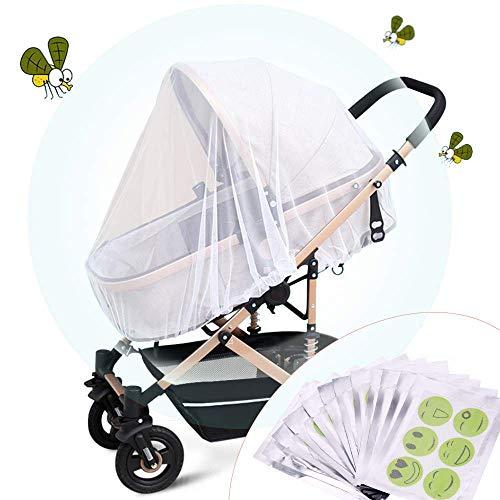 Faburo Universal Moskitonetz Insketenschutz Kinderwagen Moskitonetz Kinderbett Weiß Moskitonetz mit 72Pcs Insektenschutzmittel zum Drinnen und Draußen