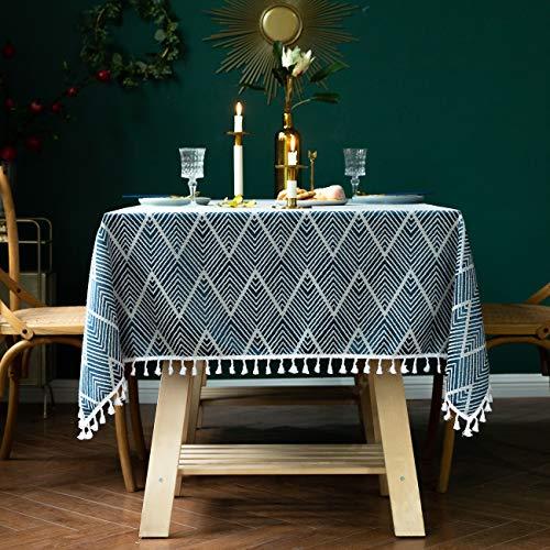 AMITRIS Tischdecke mit hochwertiger amerikanischer Quaste, rechteckiges Tischtuch, Leinen Tischdecke, Abwaschbare Leinendecke für Wohnzimmer Küche Tischdekoration (Navy Blau, 140x140)