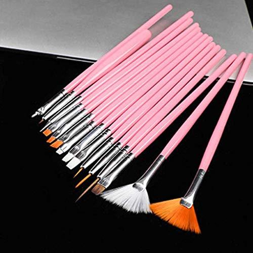 N/A Herramientas de uñas Profesionales Cepillo de uñas Arte de uñas Pluma de Dibujo Plumas de Pintura de Gel Accesorios de uñas de Gel Belleza Popular 15 Uds (Color : Pink)