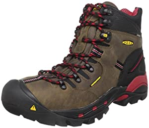 "KEEN Utility mens Pittsburgh 6"" Steel Toe Work Boot, Bison Brown/Red, 10.5 US"