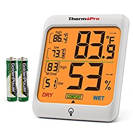 ThermoPro Indoor Hygrometer Humidity Gauge Indicator Digital Thermometer Room Temperature and Humidity Monitor with… 6 【Upgraded version - Touch Sensitive Hygrometer】Our Hygrometer Thermometer features a touch backlight button located on the bezel, making it easier to activate and light up the screen in dark conditions 【Air Comfort Indicator】Humidity meter shows the comfort level of your home, based on current humidity level, always be aware of your home conditions 【MAX & MIN Records】Humidity Monitor with Indoor Thermometer stores and displays All time/24 hours MAX & MIN humidity and temperature records