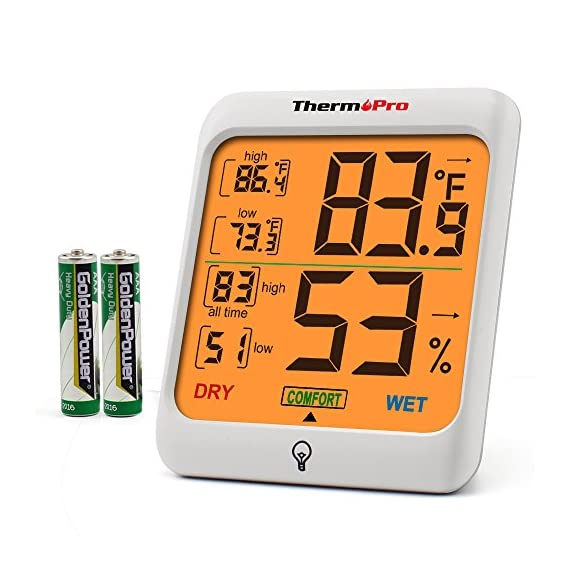 ThermoPro Indoor Hygrometer Humidity Gauge Indicator Digital Thermometer Room Temperature and Humidity Monitor with… 1 【Upgraded version - Touch Sensitive Hygrometer】Our Hygrometer Thermometer features a touch backlight button located on the bezel, making it easier to activate and light up the screen in dark conditions 【Air Comfort Indicator】Humidity meter shows the comfort level of your home, based on current humidity level, always be aware of your home conditions 【MAX & MIN Records】Humidity Monitor with Indoor Thermometer stores and displays All time/24 hours MAX & MIN humidity and temperature records