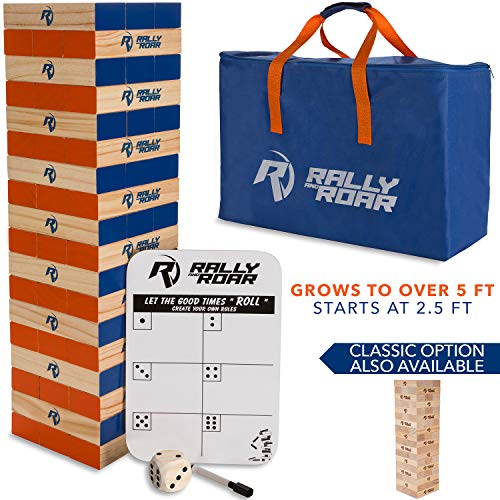 Rally and Roar Toppling Tower - Giant Tumbling Timbers Game – 2.5 feet Tall...