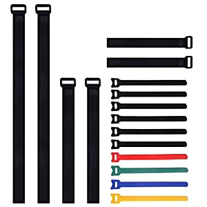 Multipurpose Adjustable Hook and Loop Securing Straps and Fastening Cable Ties, 16 Pack