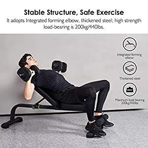 REEHUT Weight Bench Adjustable, Exercise bench for Home and Multifunctional Dumbbell Stool for Full Body Workout, Supine Board for Home Gym Weightlifting and Strength Training