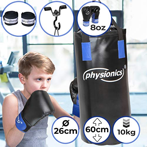 Kinder Boxsack-Set - mit Boxhandschuhen 8oz, Gefüllt, Ø26 cm, H60 cm, Gewicht 10kg, inkl. Karabinerhaken, für Junior Training - Sandsack, Kickboxen, MMA, Kampfsport, Muay Thai, Punching Bag