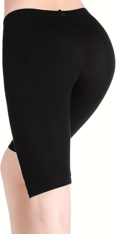 Damen Kurze Leggings Knielang Bequeme D/ünn Hose Unter Rock Stretch Yoga Shorts