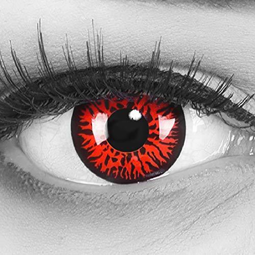 Farbige Funnylens rote Crazy Fun rote Kontaktlinsen Red Demon perfekt zu Fasching, Karneval und Halloween, Vampir, Demon Blut rot mit gratis Behälter Topqualität zu Karneval und Halloween
