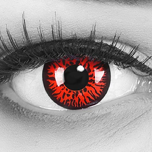 Farbige rote Crazy Fun Kontaktlinsen