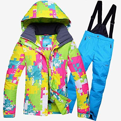 BCOGG weibliche Skifahren oder Snowboarden Anzug Jacke und Hose im Freien wasserdicht Winddicht Anzug Winter Thermo Mantel und Hose M