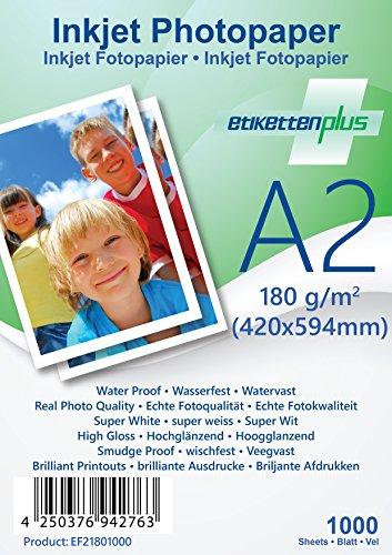 EtikettenPlus Ltd Fotopapier, 10000 Blatt, EF218010000, A2 (420x594 mm) 180g/qm glänzend (glossy), wasserfest, sofort wischfest für alle Tinten- und Fotodrucker