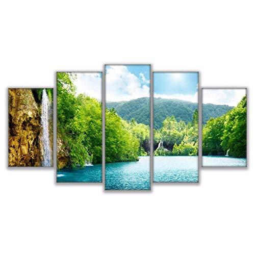 XXSCZ 5 Canvas Schilderijen Muur Kunst Ingelijste Afbeeldingen HD Prints Canvas Schilderijen 5 Stuks Rivier Waterval Berg Natuur Landschap Poster Home Decor 20x35 20x45 20x55cm Met Frame