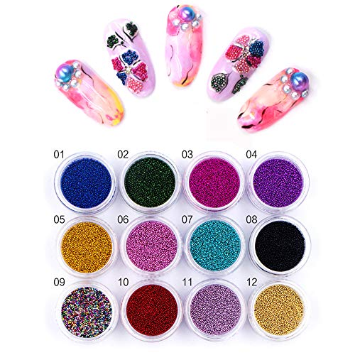 Scopri offerta per Meilds, perline multicolori 3D per nail art e nail art, 12 colori