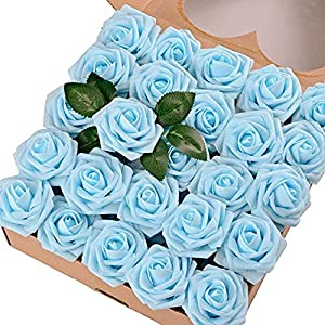 Yishaner Artificial Flowers Blush Roses 25pcs Real Looking Fake Roses w/Stem for DIY Wedding Bouquets Centerpieces Bridal Shower Party Home Decorations