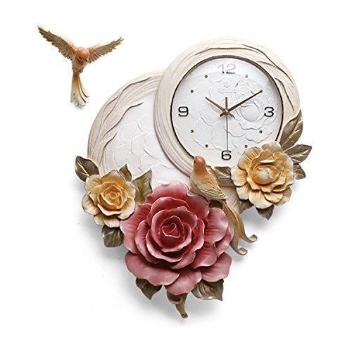 WDWL Reloj De Pared Alivio Tridimensional Arte Reloj De Pared Flores Relojes De Sala De Estar Reloj Ultra Silencioso Pájaro Creativo Reloj WD