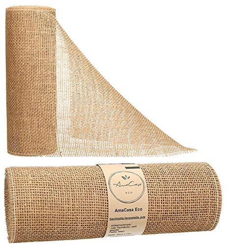 AmaCasa Eco Tischläufer Jute 30cm breit, 10m Rolle | gestärkter Jutestreifen mit kompostierbarem Etikett | Tischband für wundervolle Dekorationen (Natur - Braun, 30cm/10m)