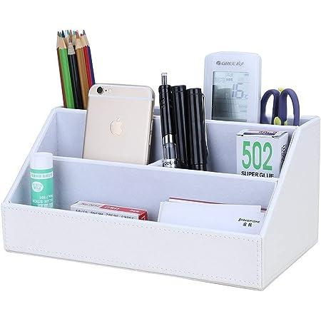 KINGFOM PUレザー収納ボックス 収納ケース ペン立て 鉛筆ホルダー デスクオーガナイザー リモコンホルダー 卓上収納 鉛筆 文具 リモコン 小物収納 自宅 オフィス おしゃれ (ホワイト)