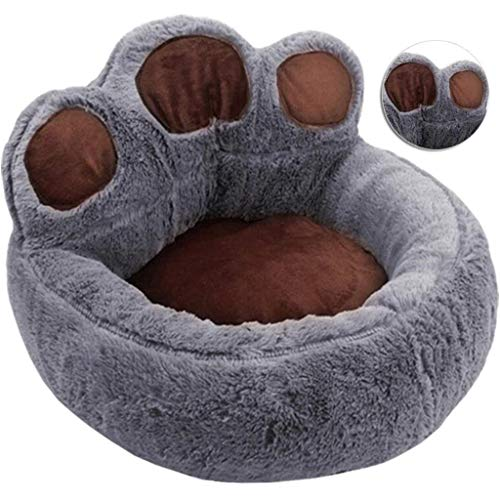 LLKJT Bear Paw Dog Kennel Cat Nest 2 in 1 Pet Sofa Short Plush Comfortable And Breathable Durable Removable Washable Bottom Moisture Proof Design,Gray,XL