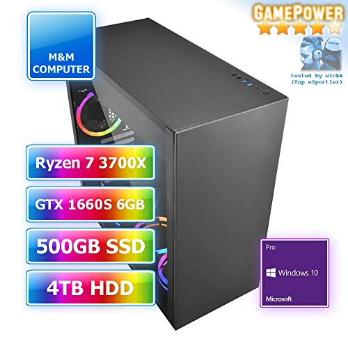 M&M Computer Dresden Gamer-PC AMD Ryzen RGB, AMD Ryzen 7 3700X CPU, GTX1660 Super 6GB Gamer, 480GB SSD, 4TB HD, 16GB DDR4 RAM, MS-Windows 10 Pro, PC