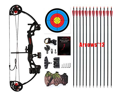 "PANDARUS Compound Bow Archery for Youth and Beginner, Right Handed,19""-28"" Draw Length,15-29 Lbs Draw Weight, 260 fps"