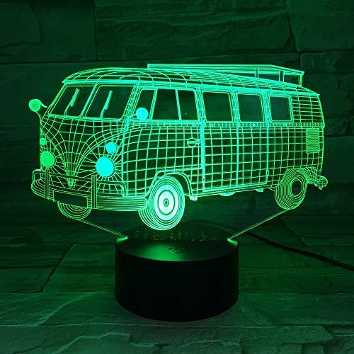 Nur 1 Stück 3D Camping Schulbus Lichter 3D LED bunte Acryllampe als Home Decorations Lichter Kinder Geschenk Student Schlafzimmer Stimmung Beleuchtung