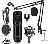 Techtest BM800 Black Condenser Microphone with Adjustable Microphone Stand, Pop Filter, Splitter professional