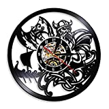 wszhh Reloj de Pared con Registro de Vinilo con Espada y Escudo Vikingo de Dios de la mitología nórdica, Reloj de Pared con Adorno Vintage nórdico escandinavo Celta, sin Led