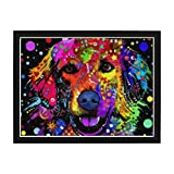 Ginfonr 5D Diamond Painting Diamante Pintura Perro Cachorro Animales Pet Labrador Por Kits Numéricos Pintura De Taladro Completo Con Decoración De Pared De Diamantes Art 30 * 40 cm