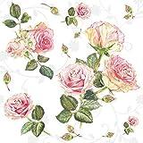 20 Servietten Schönheit der Rosen weiß   Blumen   Hochzeit   Sommer   Vintage 33x33cm
