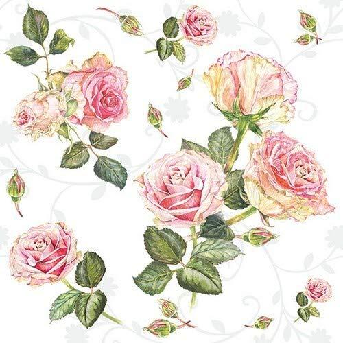 20 Servietten Schönheit der Rosen weiß | Blumen | Hochzeit | Sommer | Vintage 33x33cm