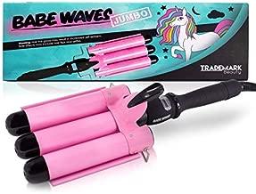 Babe Waves Jumbo Hair Curling Wand | Triple Barrel Waving Iron | Trademark Beauty Dual Voltage Hair Waver with 32mm Barrels