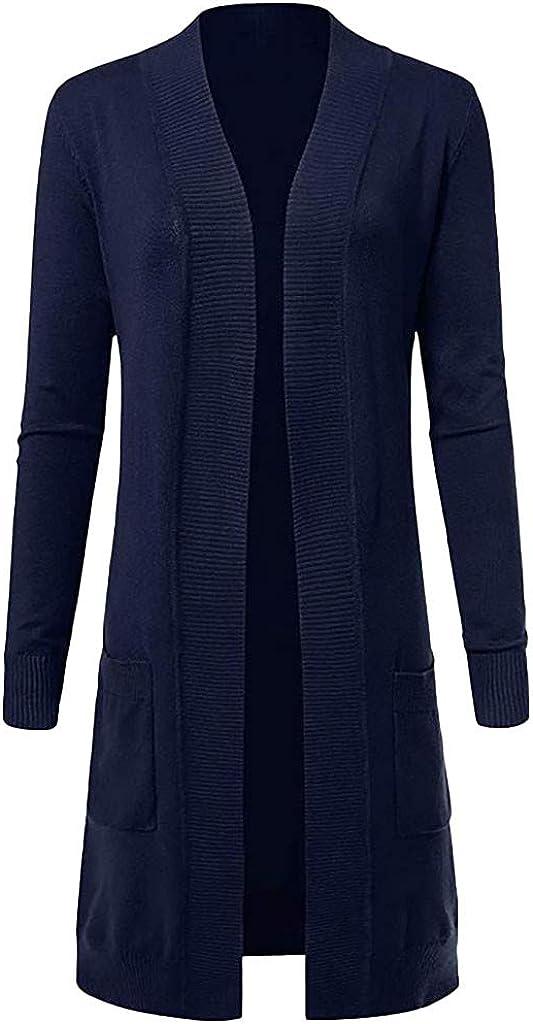 TOTOD Women Cardigans Solid Soft Stretch Longline Long Sleeve Open Front Cardigan Outwear