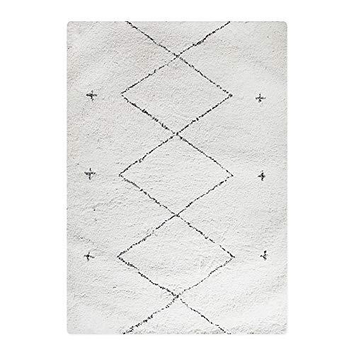 Teppiche Bereich, Wohnzimmer Sitzt Wollteppich Einfache Moderne Schlafzimmer Diamond Weiß Haariger WeißA 160x230cm(63x91inch)